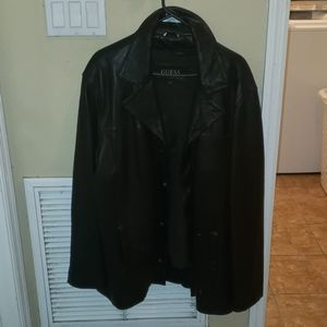 Mens Guess black leather jacket size L